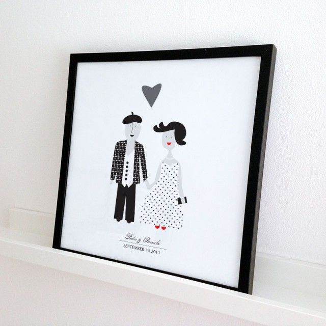 The Wedding, personal poster by Forma Nova #nordicdesigncollective #formanova #poster #thewedding #personal #names #dates #frame #two #people #couple #love #romance #figures #dress #costume