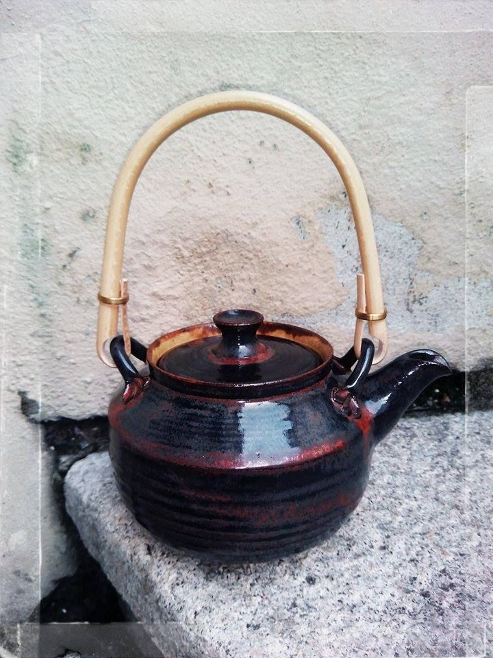 handmade with handle, stoneware teapot, made by Stepanka Kucerova 1250 st.Cels, clay FR Pavek, USA Amaco Potters Choice glazes ... 5 dcl