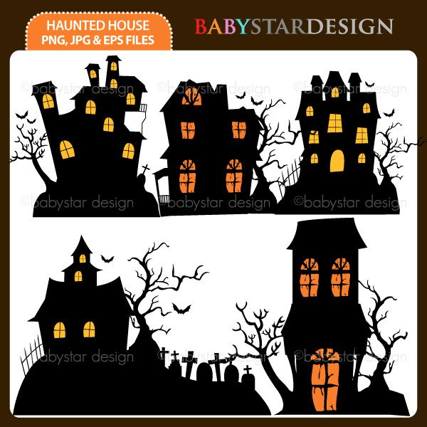 5 graphic elements of Halloween Haunted House theme. Perfect for your birthday invitation, craft projects, paper products, stationery, scrapbooking, web designs, stickers and many more!