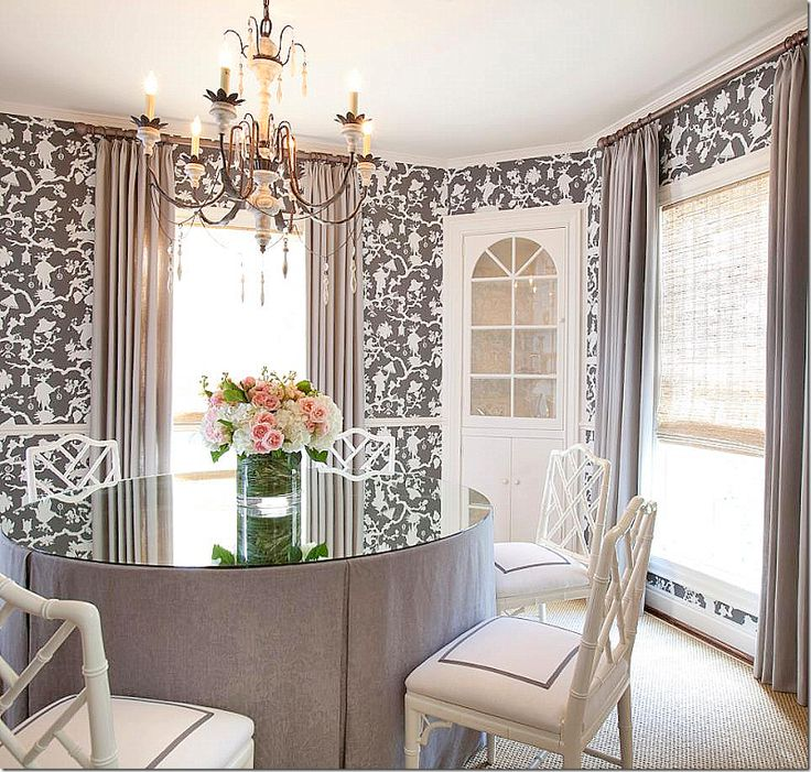 The dining room is so pretty wallpapered in the same Pretty dining rooms