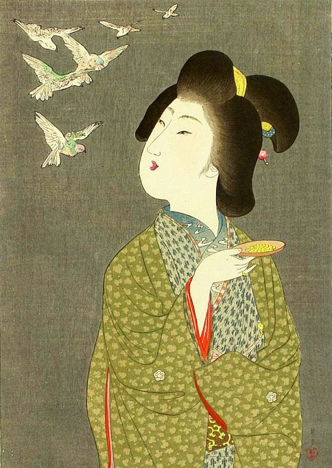 Yamamoto Shouun (1870-1965) 山本昇雲 Beauty and Birds, from the series Present Forms 今姿、1909