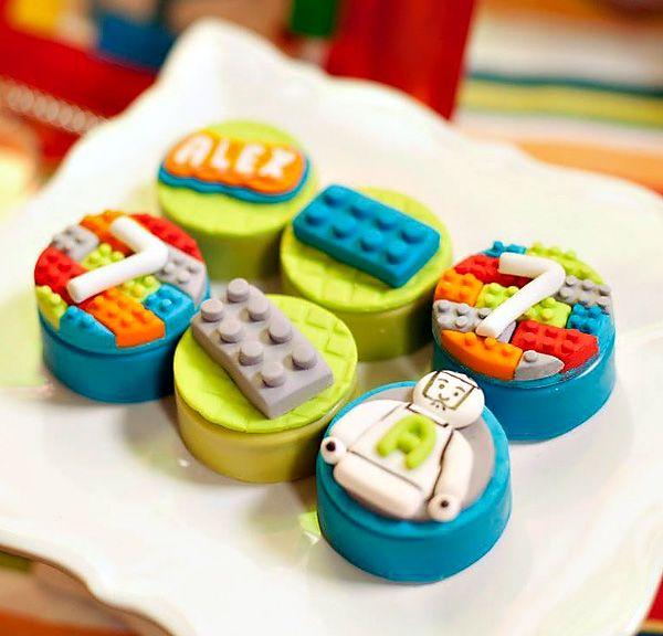Lego Oreos for Colorful Lego Themed Party {Twin Boys Birthday}