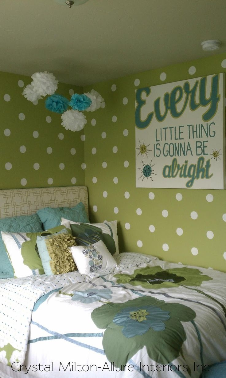 Green girls bedroom, love the polka dot wall