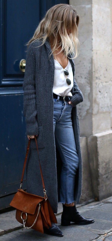 winter outfit super long cardigan + high waist levis