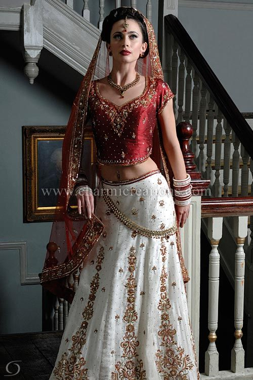 Indian Wedding Dress - Ivory brocade silk wedding outfit, with a red raw silk blouse and a net dupatta