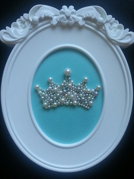 Ready to ship! Framed Pearl Crown with light teal background! Zeta Tau Alpha, nursery, little girl's room or any decor! Tiffany & Co. colors on Etsy, $25.00