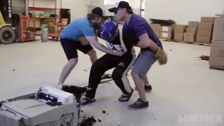 GONGSHOW : Office Space - The Hockey Edition After many years of unfinished jobs, heavy ink consumption and countless paper jams the GONGSHOW office printer had it's last screw up, and the boys took it down to the warehouse to go toe-2-toe... #GONGSHOW #Hockey