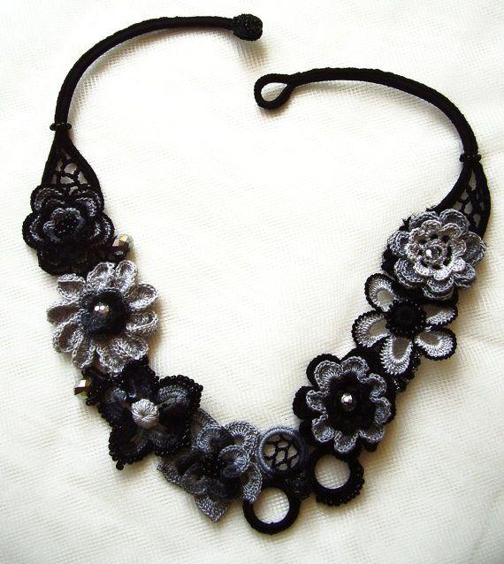 Schwarzes Halsband, Gray häkeln Halskette, Anweisung Schmuck, Blumen häkeln, Anweisung Collier, Irish Crochet, Crochet Choker, handgefertigt