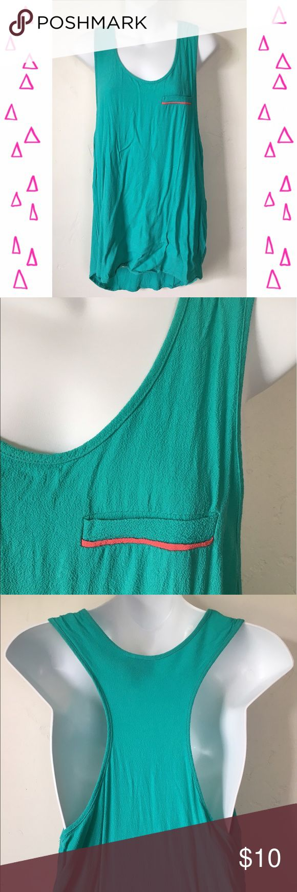Prabel Gurung for Target Racerback Tank Top Teal racerback tee. Pocket with pink detailing. Flowy & comfortable. On the long side. Front a bit shorter than back. Prabal Gurung for Target Tops Tank Tops