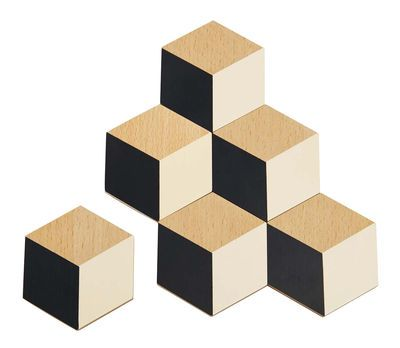 Dessous de verre Table Tiles / Bois - Set de 6 Beige/Noir/Bois - Areaware - Pop Corn - Décoration et mobilier design avec Made in Design