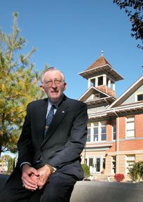 Joe Dini with Restored Building in Background