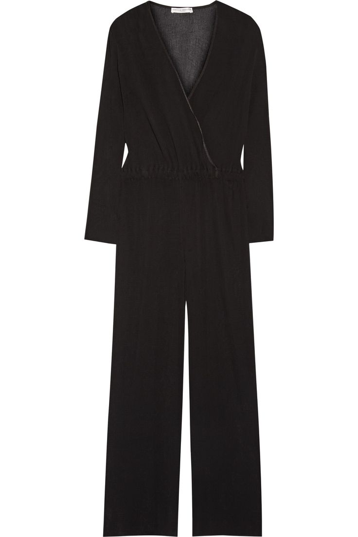 BARBARA CASASOLA Wrap-effect plissé-georgette jumpsuit. #barbaracasasola #cloth #jumpsuit