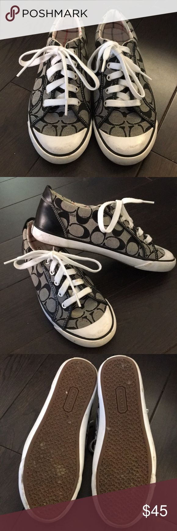 Coach sneakers Coach sneakers - converse style in light black with large dark black C's. Mint condition and lightly worn, minor marks on the toes as pictured. Extremely comfortable! Coach Shoes Sneakers