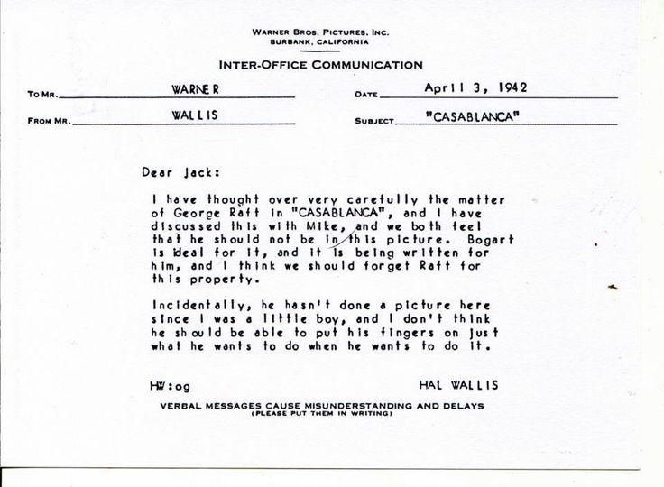 Hall B. Wallis memo to Jack Warner re George Raft's casting in Casablanca, April 3, 1942