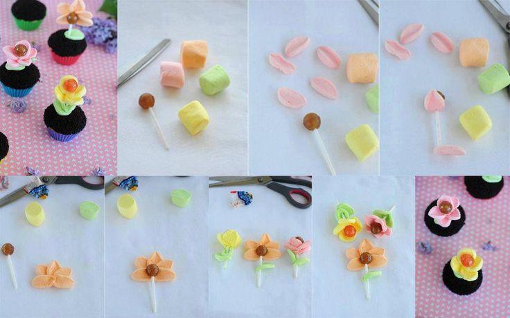 lollipop marshmallow flowers
