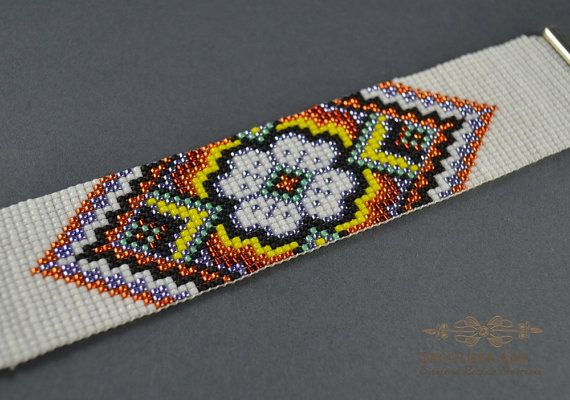 Bracelet woven on a loom , folk bracelet , flower bracelet , the Indian pattern, flower pattern , ornament hand