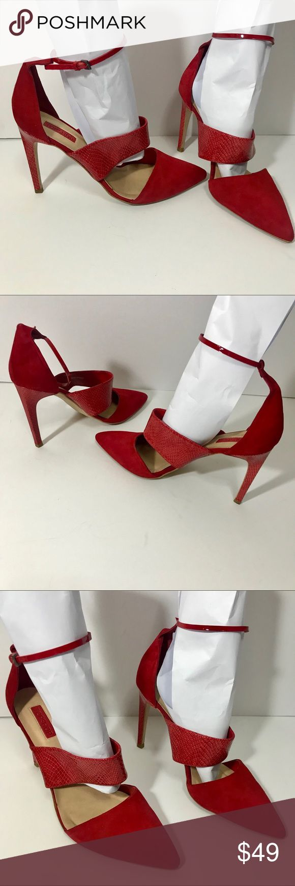 TOPSHOP ANKLE STRAP SUEDE HEELS RED SIZE 42 TOPSHOP ANKLE STRAP SUEDE HEELS RED SIZE 42  Sexy red ankle heels with point toe. Suede and embossed croc leather. Heels are 4 inches.  Worn twice. Wear with skinny jeans, A-Line skirt, or body con dress. Topshop Shoes Heels
