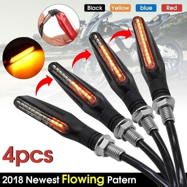 2 Pairs 4 X 12v Flowing Universal Yellow Led Motorcycle Indicators Motorbike Turn Signals Light Color Black Blue Red Yellow Wish Indicator Lights Motorcycle Lights Signal Light