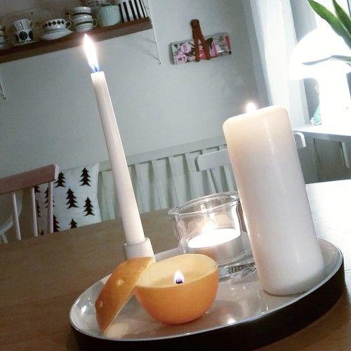 Diy/pyssel- ljusstake av apelsin och olivolja