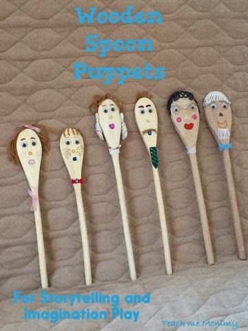 Wooden Spoon Puppets - great for storytelling or imaginary play. From @Teach Me Mommy