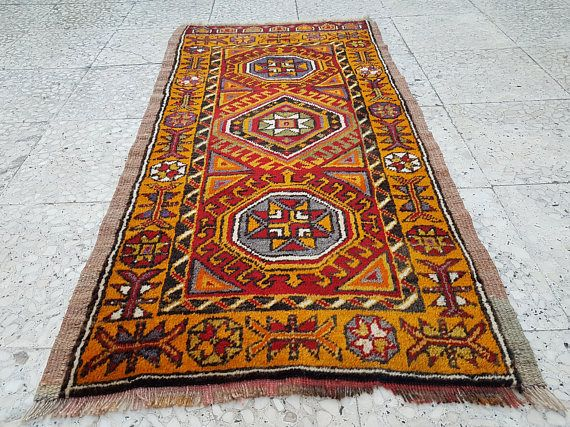 Vintage Turkish Table & Wool Decor Orange Rug Handmade