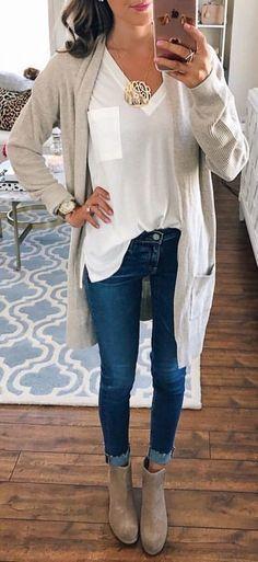 #fall #outfits women's grey long-sleeved cardigan #fallwomenclothing