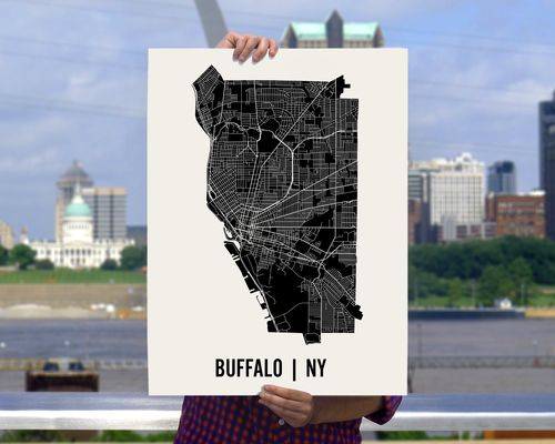 Buffalo Map Art Print by Mr City Printing