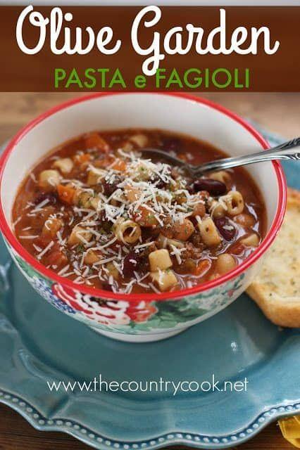 Crock Pot Olive Garden Pasta E Fagioli Soup – The Country Cook
