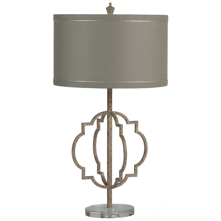 Based off our best-selling Atwood Chandeliers, the Charlotte Transitional Lamps combine a classic shape with an antique-gold finish. The transitional lamp is made of iron and features an acrylic base. Slim gold bands circling the shade add an extra touch of elegance.  Materials Iron with Acrylic Base  Finish Antique Textured Gold