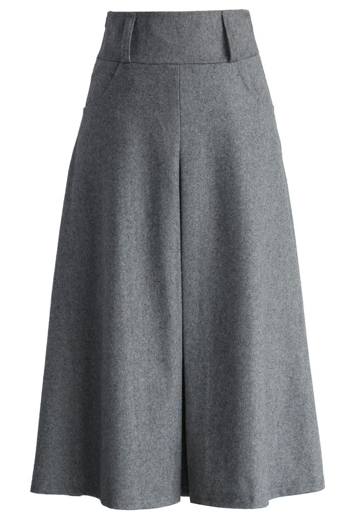 Wool Blend Full Skirt in Grey