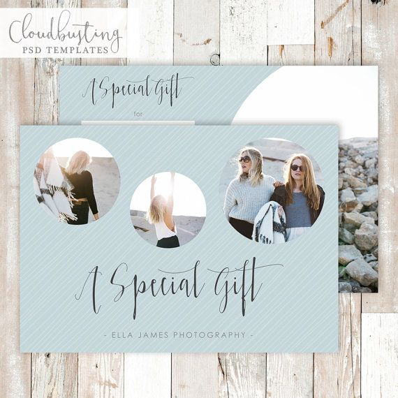 Photography Gift Certificate Card - Customizable Photoshop Template - https://www.etsy.com/listing/285370891