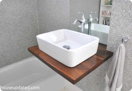 DIY floating sink - makes a small bathroom look bigger!