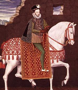 """Henri III  Portrait équestre d'avènement (1574), le roi apparaît sur un fond de ruines comme l'élu qui restaurera la France.- Dès son avènement, Henri III est confronté à la guerre menée par Henri de Montmorency comte de Damville,,dit roi du Languedoc. A la Cour, il doit faire face aux complots fomentés par son frère François d'Alençon, qui mène le parti des """"Malcontents"""", et le roi de Navarre, le futur Henri IV, lesquels finissent par s'enfuir de la cour et prendre les armes."""