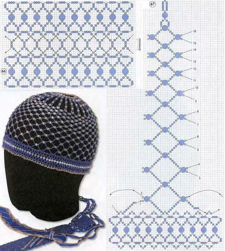 красивая шапочка из бисера  + TUTORIAL