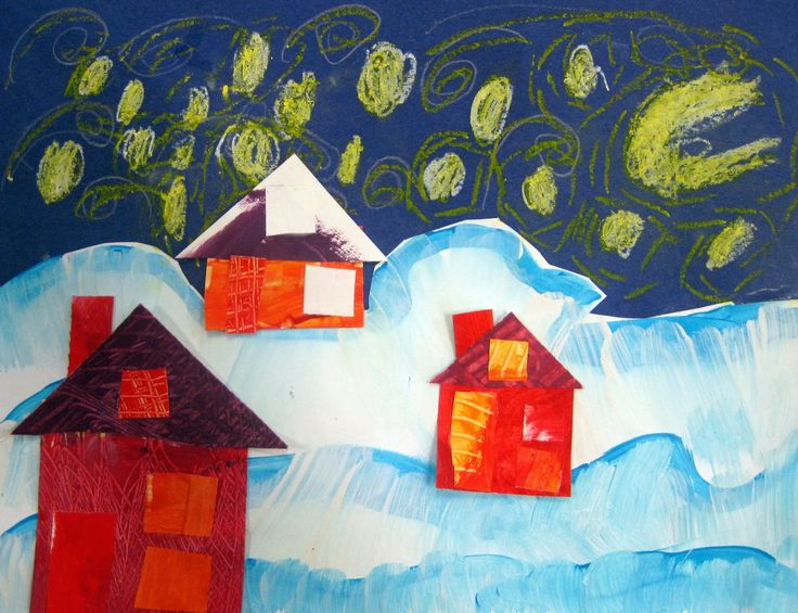 In the Art Room: Winter Collage Landscapes by Kindergarten (Cassie Stephens)