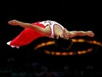 Massaki Ito of Japan competes for a place in the final of the men's Trampoline