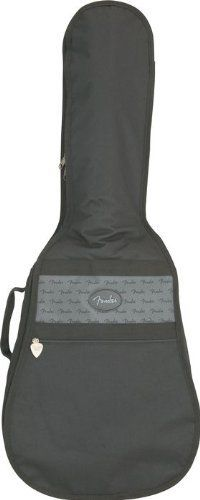 """Fender Standard 3/4 Acoustic Guitar Gig Bag Black by Fender. $28.91. Safeguard your axe with the Fender Standard 3/4-size Acoustic Guitar Gig Bag. No one wants to haul a heavy hardshell case into a gig. It takes up too much space in the car. It takes up too much space behind the stage. It's just too bulky. That's why they invented """"gig bags,"""" right? Not just a clever name. And right here, you've got a Fender gig bag that fits pretty much every Stratocaster or Telecaster on the ..."""