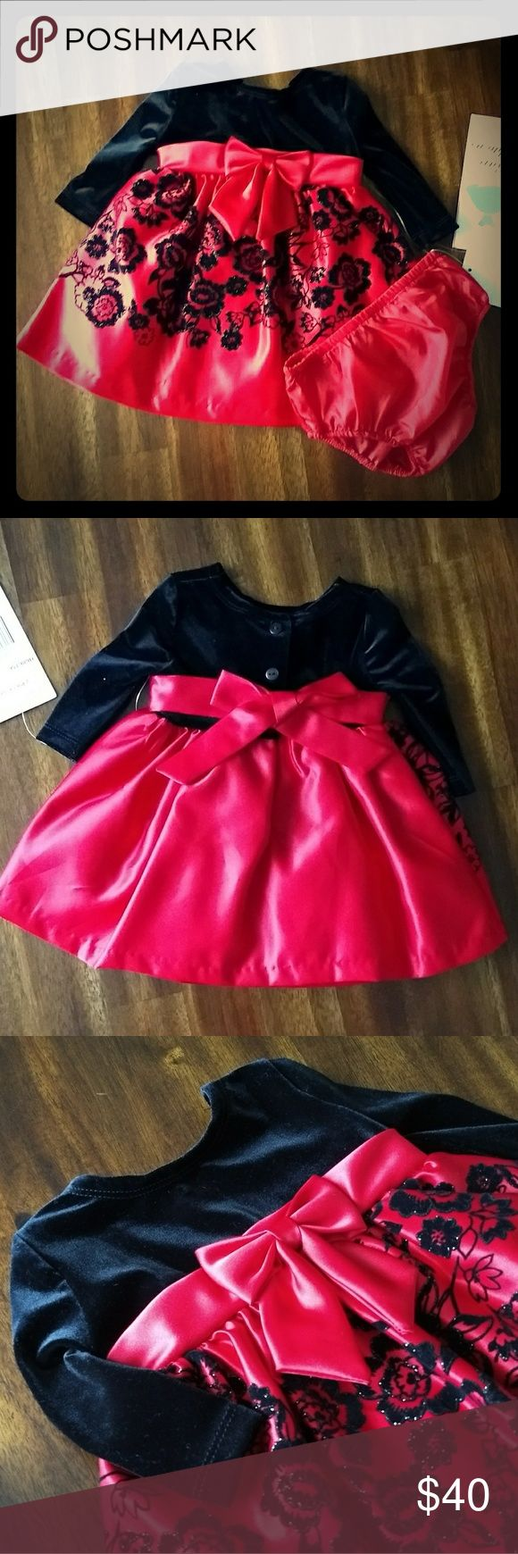 Baby Girl Holiday Dress NWT. Beautiful dress has velour top and 3 layer satin skirt with velvet & glitter floral detail. Includes matching bloomers. Rare Editions Dresses Formal