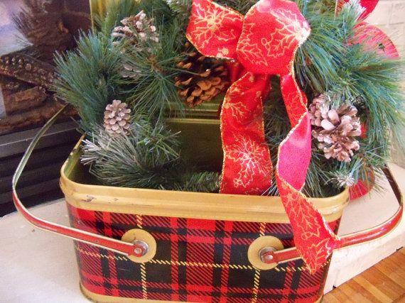 Vintage red plaid metal picnic box  by YorkshireTeaCupShop on Etsy