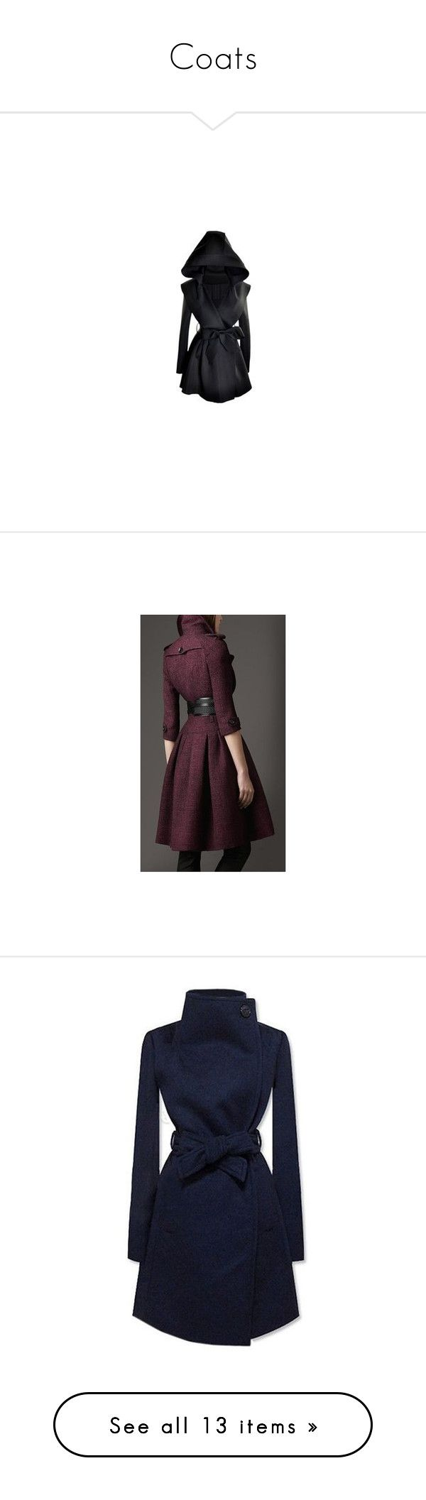 """""""Coats"""" by giselsimon ❤ liked on Polyvore featuring outerwear, coats, woolen trench coat, blue coat, blue trench coats, trench coat, blue wool coat, coats & jackets, brown coat and house of fraser"""