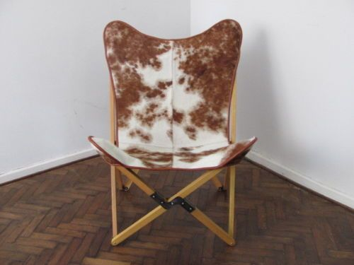 Cowhide Tripolina Chair Foldable Butterfly
