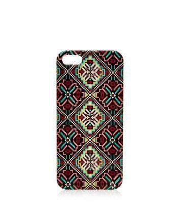 New Look Burgundy Folk Print iPhone 5 Case #accessories #covetme