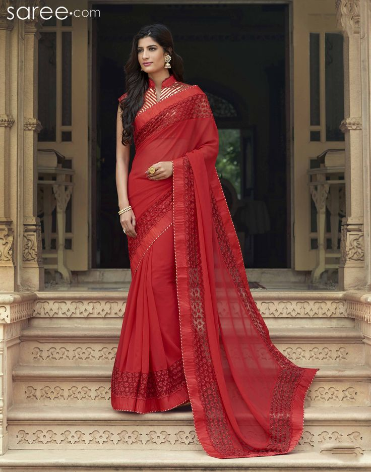 RED GEORGETTE SAREE WITH EMBROIDERY WORK  #Saree #Chiffonsarees #Sari #Indianfashion #fashionIndia #sareelover #georgettesaree #IndianWear #Ethnicwear #IndianEthnicwear