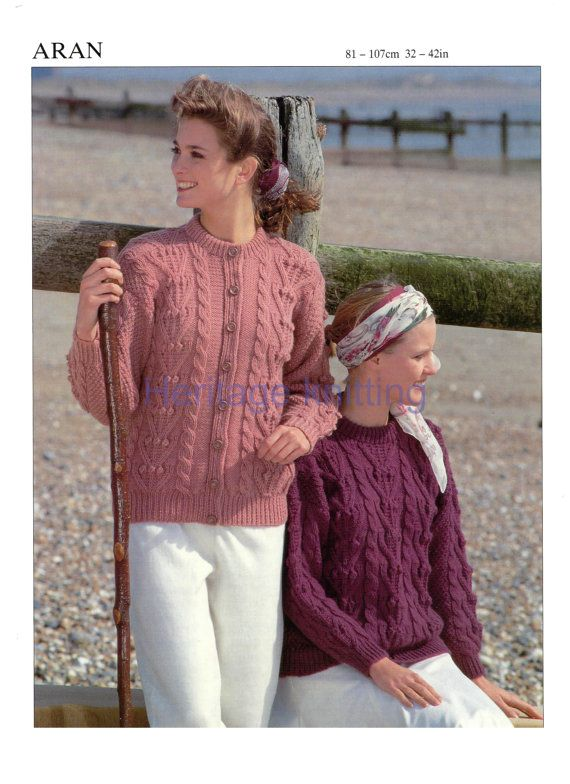 Welcome to heritage patterns. for sale is a Digital download of a womans sweater and cardigan aran knitting pattern to fit chest / bust sizes 81 to 107 cm 32 to 42 inches  TOOLS NEEDED pair of uk 9 and uk 7 knitting needles  all our patterns are water marked but are still very easy to read.