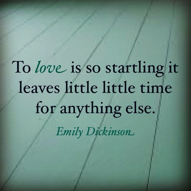 "Emily Dickinson ""To love is so startling it leaves little time for anything else."""