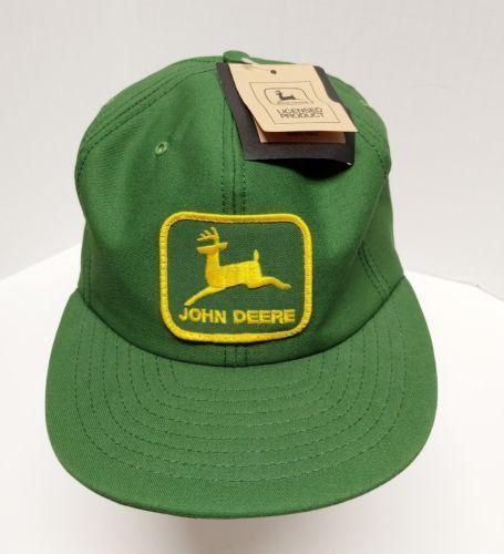 81b0102d886 Vintage John Deere Patch Trucker Snapback Hat Cap USA Louisville Mfg with  Tags Usa Cap
