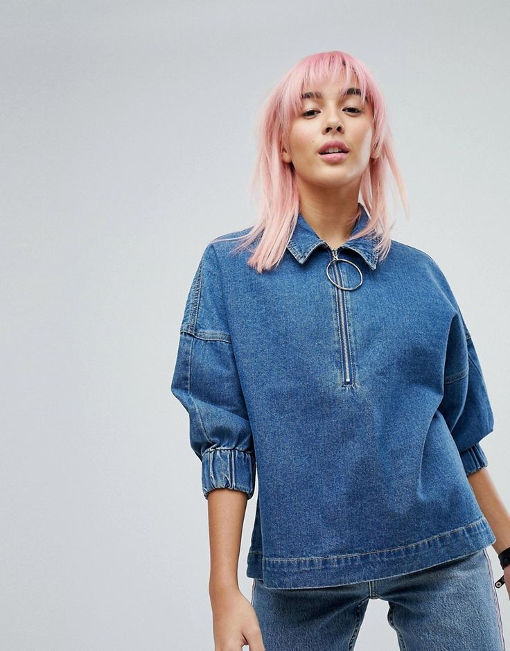 Noisy May Denim Smock Top With Ringpull - Blue