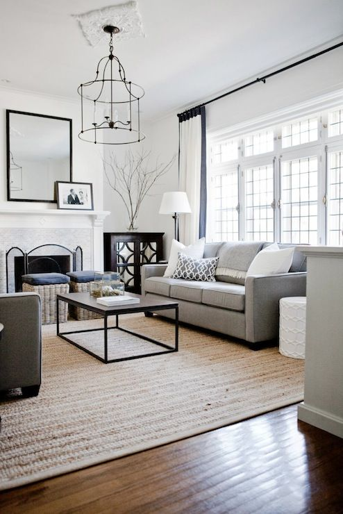 Lux Decor: Incredible living room with monochromatic palette and wall of  leaded glass French doors