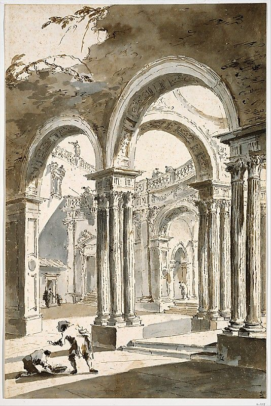 A Colonnade, Partly Ruined, with Figures I Francesco Guardi.  Art Experience NYC  www.artexperiencenyc.com/social_login/?utm_source=pinterest_medium=pins_content=pinterest_pins_campaign=pinterest_initial