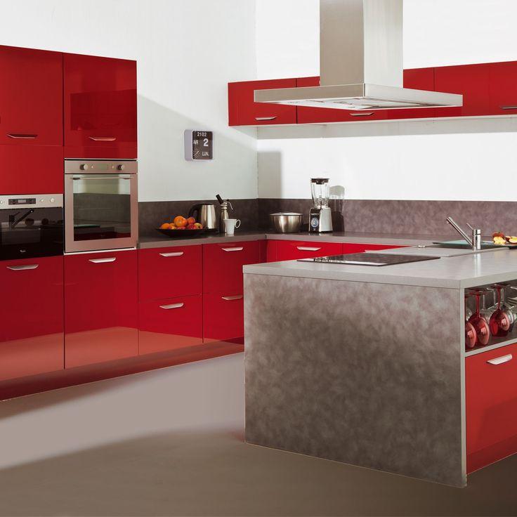 cuisine composer mod le type rouge rimini rouge les cuisines composer alin a meubles. Black Bedroom Furniture Sets. Home Design Ideas